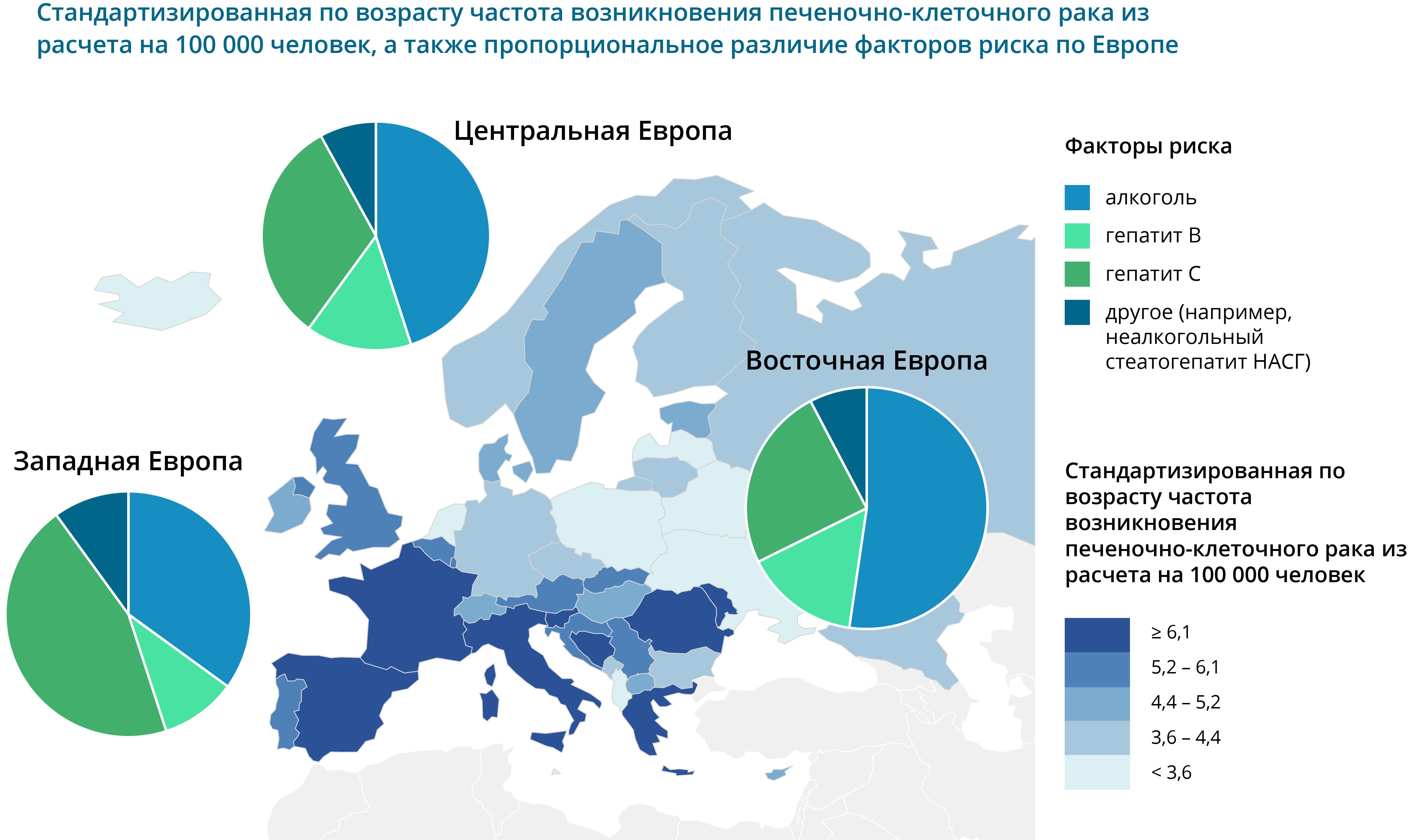Maksavähk esinemine Euroopa RUS
